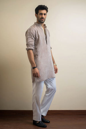 Sania Maskatiya - Brown Linen Kurta