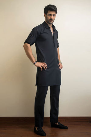 Sania Maskatiya - Black Cotton Kurta
