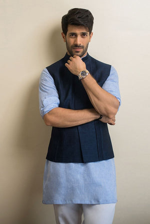 Sania Maskatiya - Light Blue Linen Kurta