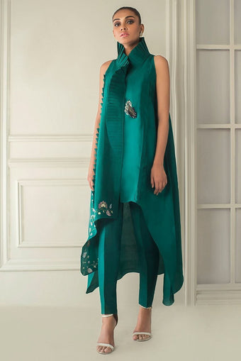 Sania Maskatiya - Pleated High Low Kurta