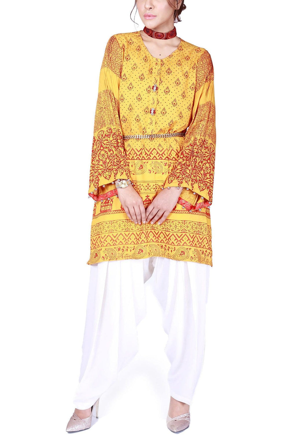 FnkAsia - Yellow Hand Block Print Cotton Shirt with Pants