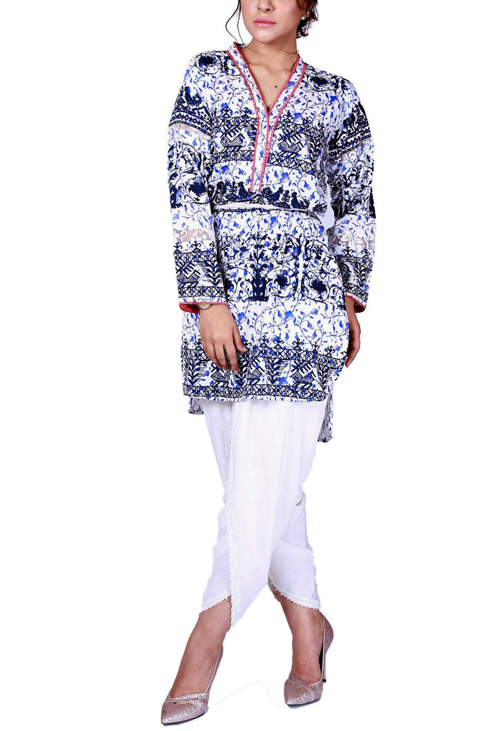 FnkAsia - White Hand Block Print Cotton Shirt with Pants