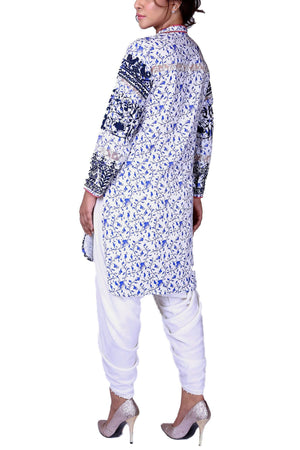 Huma Adnan - White Hand Block Print Cotton Shirt with Pants