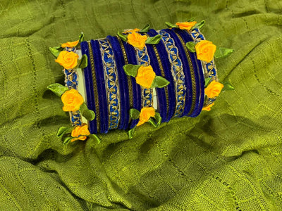Hemo Handicraft - Blue Yellow Floral Bangles - 05_BY_FB
