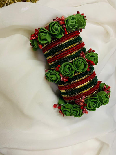 Hemo Handicraft - Green Red Floral Bangles - 05_GR_FB