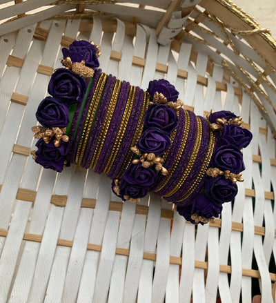 Hemo Handicraft - Purple Gold Floral Bangles - 05_PG_FB