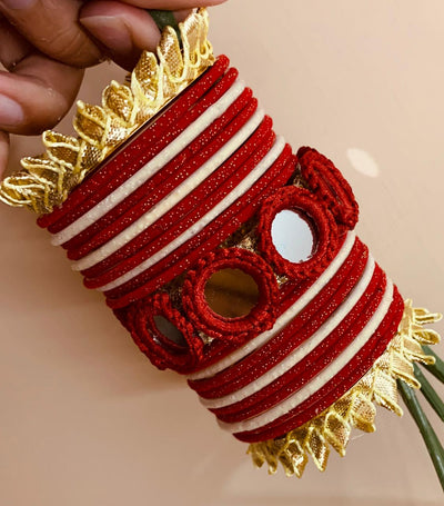 Hemo Handicraft - Red Mirror Gotta Bangles - 05_R_MG_B
