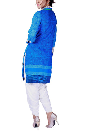Huma Adnan - Blue Hand Block Print Cotton Shirt with Pants