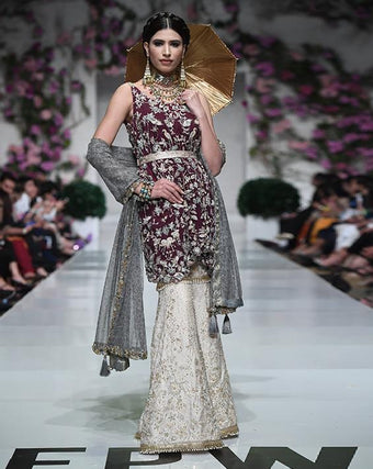 Huma Adnan - Silk Shirt And Gharara