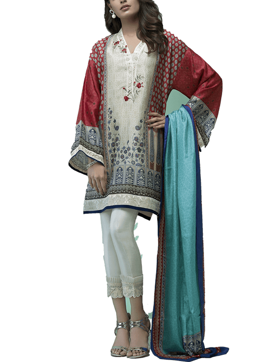 Sania Maskatiya -  Cotton Net Digitally Printed Embroidered Shirt
