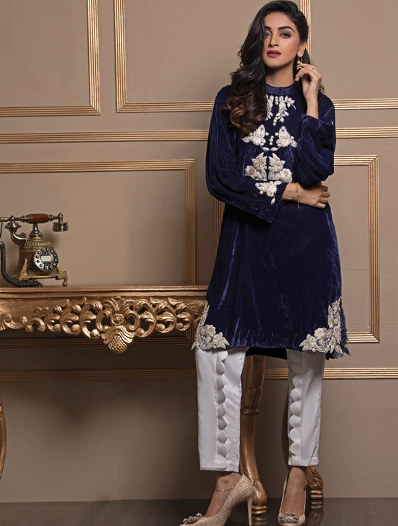 Khas Stores - Blue with Scallop Shirt-Er-83 - Stitched