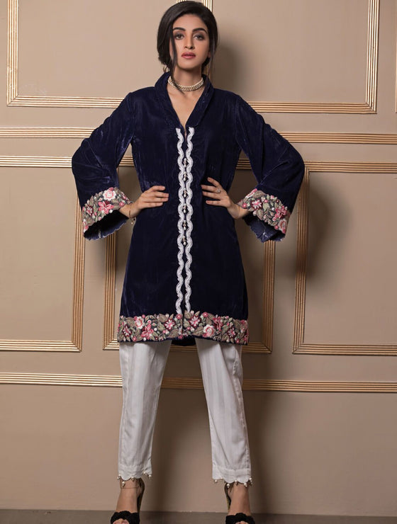 Khas Stores - Blue Applique Shirt Er-82 - Stitched