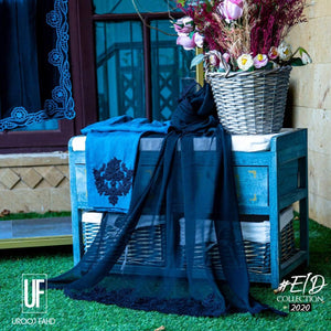 Urooj Fahd - Teal Blue & Black Ombre - 2 PC