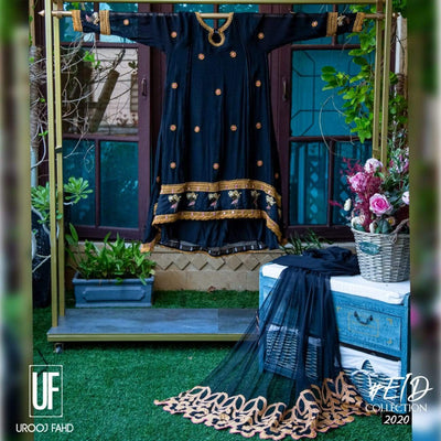 Urooj Fahd - Cotton Net Black & Mustard High Low - 3 PC