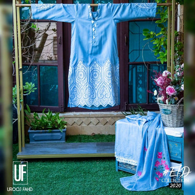 Urooj Fahd - Carolina Blue Chikan Applique - 3 PC