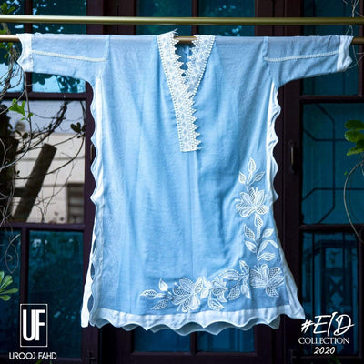 Urooj Fahd - Ice Blue Box Tunic - 1 PC