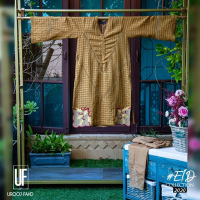 Urooj Fahd - Self Cotton Organza Copper - 2 PC