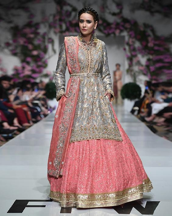 Huma Adnan - Chiffon Gray Shirt And Peach Skirt