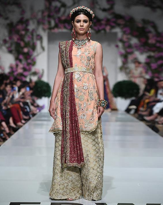 Huma Adnan - Peach Shirt With Beige Plazzo