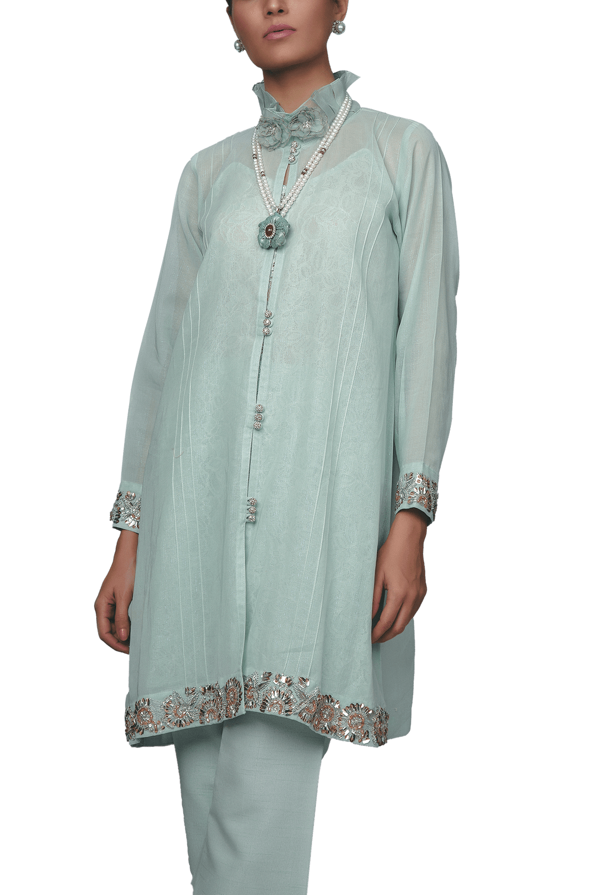 Sanam Chaudhri - Aqua Green Pleated High Collar Front Open With Lace Slip And Silk Trousers