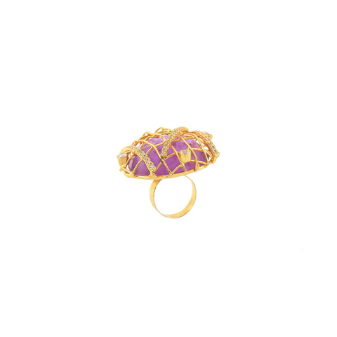 Rema Luxe - Gold Brass Metal Spinning Webs Through Stars Ring