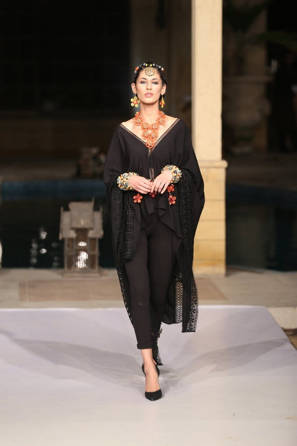 Huma Adnan - Kaftan with Black Tights