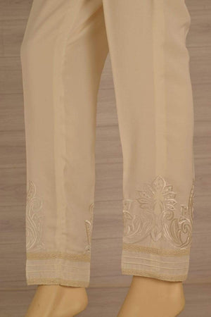 Wov - Cream Cg Pol Emb Lace Pant - 1 PC
