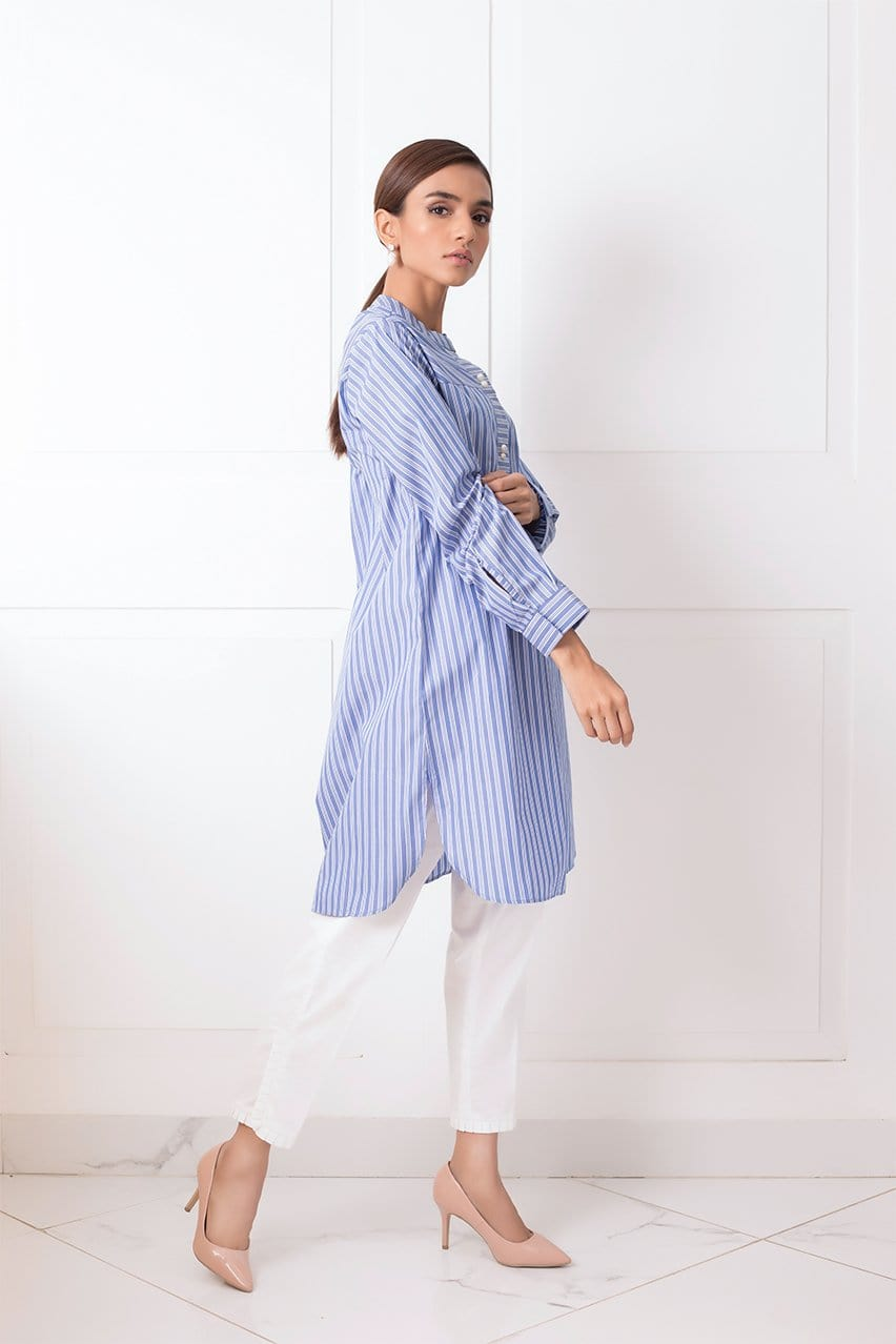 Shehrnaz - Blue Striped Cotton Shirt