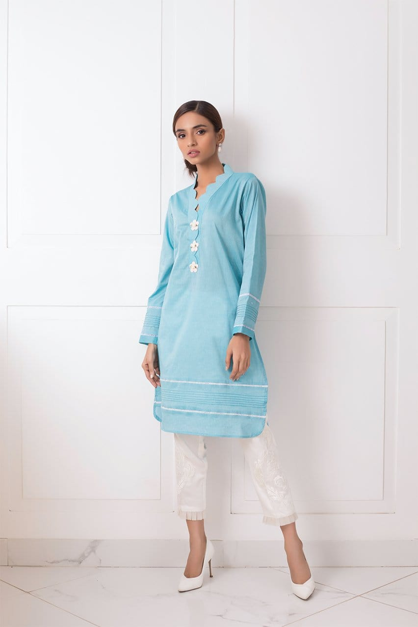 Shehrnaz - Sky Blue Cotton Shirt