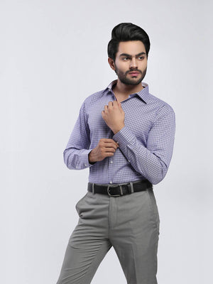 The Cress - Purple Micro Check Dress Shirt
