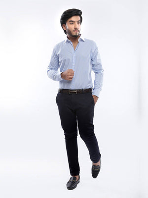 The Cress - Sky Blue Striped Premium Formal Shirt