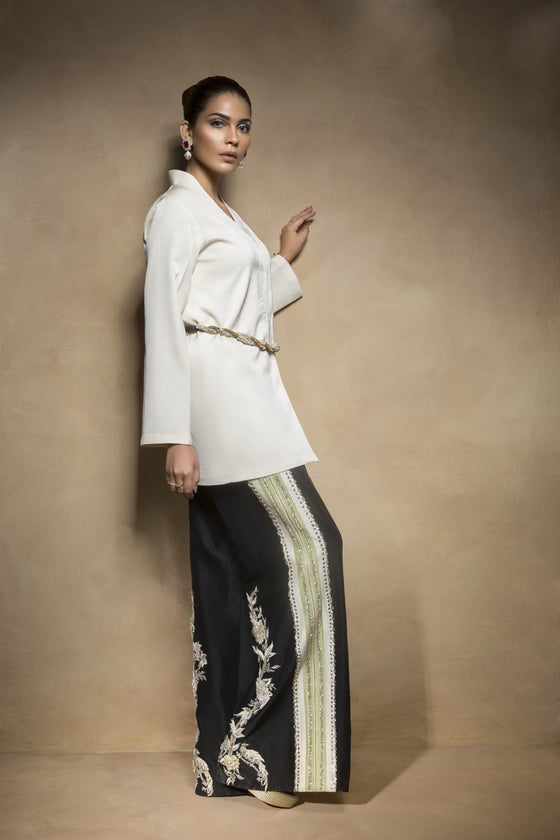 Mahgul - White Wrap Jacket With Black Handworked Pants