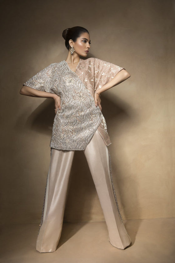 Mahgul - Nude Handworked Jacket With Silver And Ivory Work With Pants