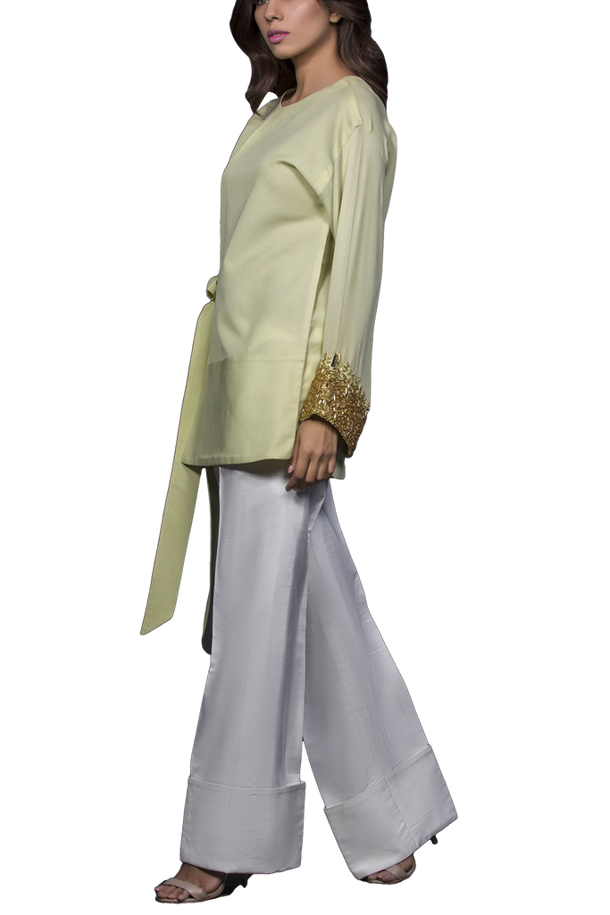 Mahgul - ARAH Haute Cut Georgette Shirt With Raw Silk Pants