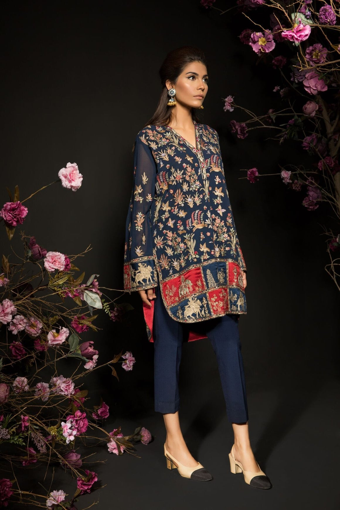 Mahgul - Hand Embroidered Shirt With Pants
