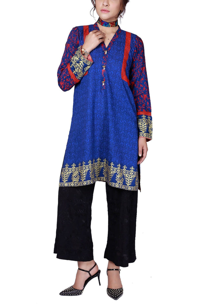 FnkAsia - Indigo Hand Block Print Cotton Shirt with Pants