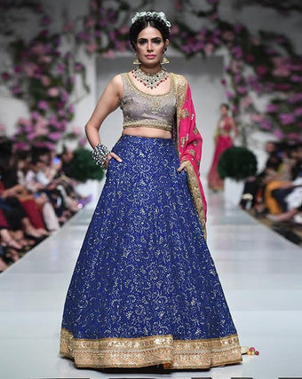 Huma Adnan - Gray And Blue Organza Blouse And Skirt