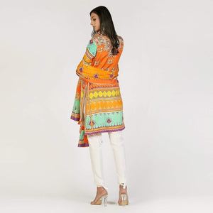 Rizwan Beyg - Baluchi Print Orange Shirt with Dupatta