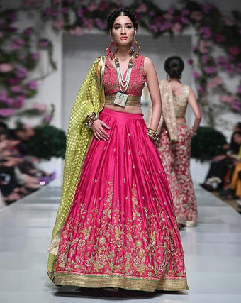 Huma Adnan - Fushia Silk Blouse And Skirt