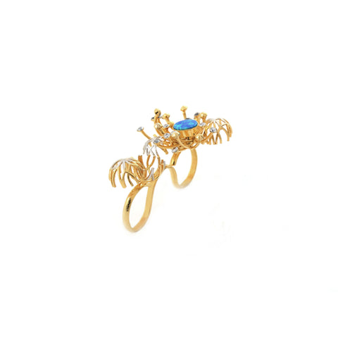 Rema Luxe - Gold Brass Metal Strawberry Fields Forever Ring