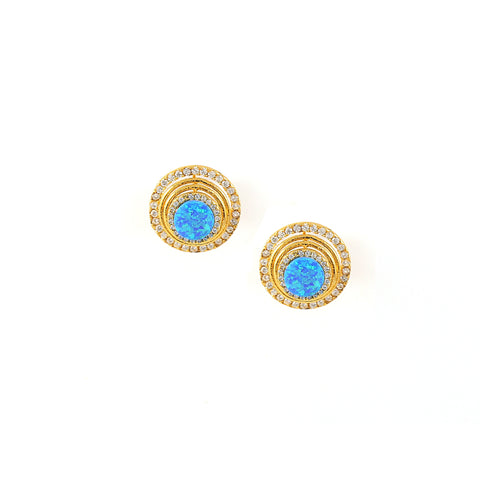 Rema Luxe - Gold Brass Metal Theatrical Stud Ear Stud