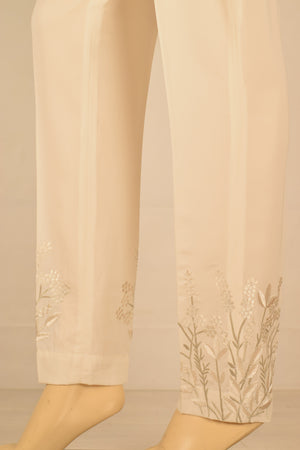 Wov - Cream Cg Pol Emb  Pant - 1 PC