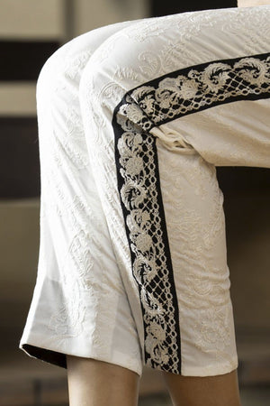 Zunn Fashion - White Embroidery Pants - PD2