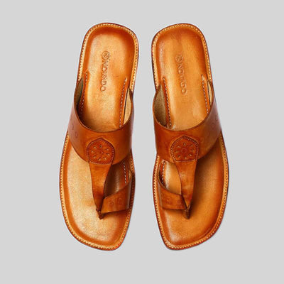 Novado - Tan  Kolhapuri Leather Slipper For Men