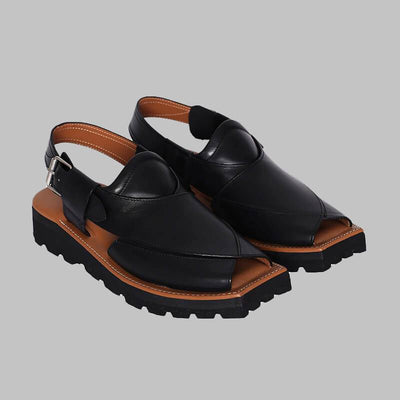 Novado - Black Kaptaan Leather Peshawari Chappal For Men
