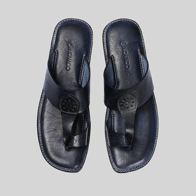 Novado - Navy Blue Kolhapuri Leather Slipper For Men