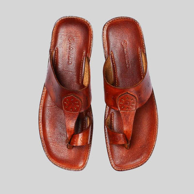 Novado - Rust Kolhapuri Leather Slipper For Men