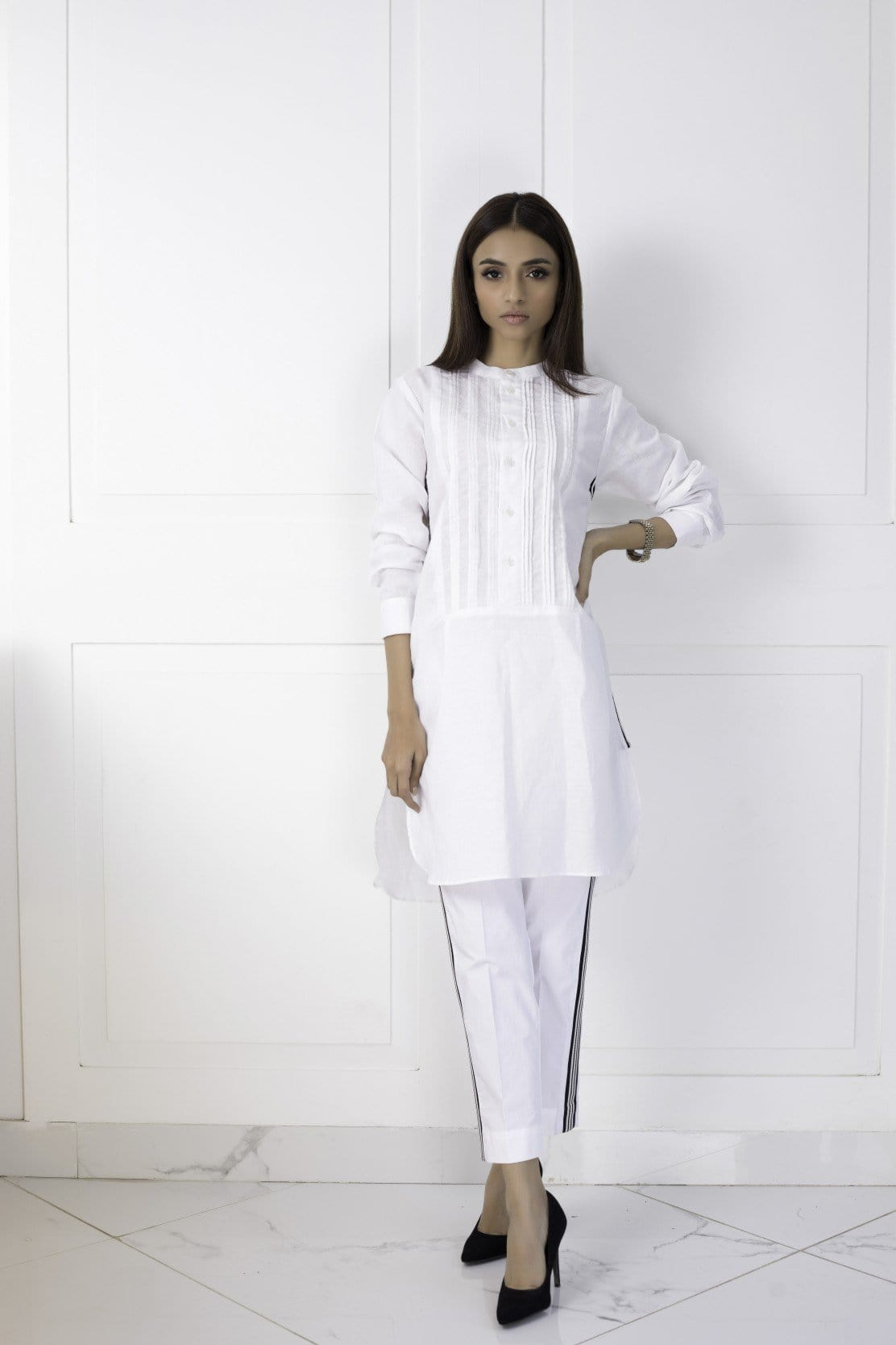 Shehrnaz - White Irish Linen Pleated Shirt
