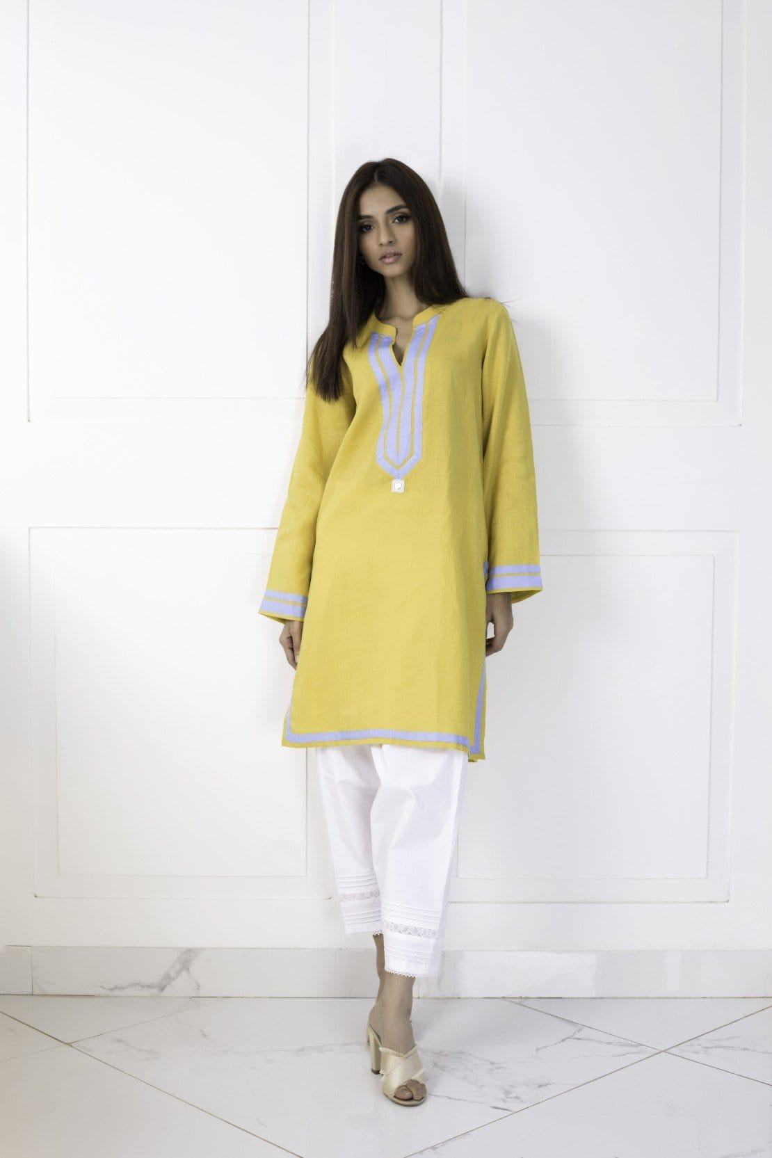 Shehrnaz - Yellow Irish Linen Tunic