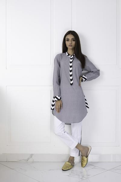 Shehrnaz – Black and White Checked Shirt Clearance Sale